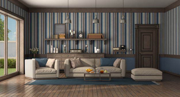 classic-style-living-room-with-modern-sofa-armchair-old-door-chest-drawer-3d-rendering_244125-1709